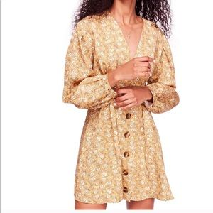 FREE PEOPLE Yellow Flora Button Up Mini Dress